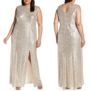 Vince Camuto Nude/Gold Sequin Trumpet Gown 22W
